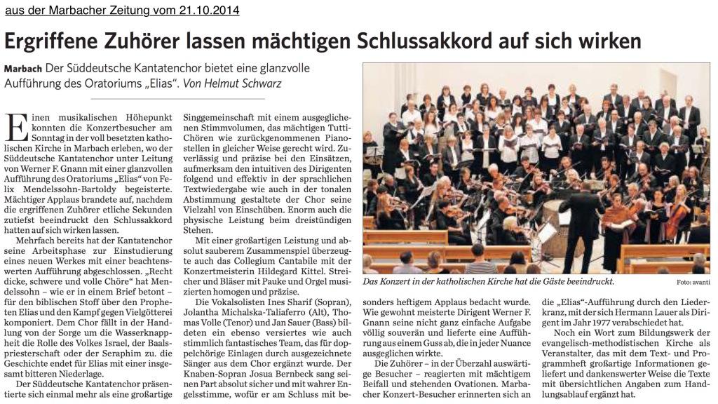 Elias-Rezension, Marbacher Zeitung