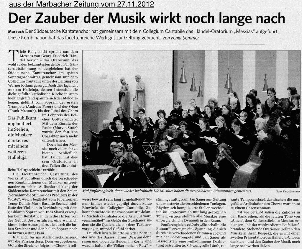 Messias-Rezension, Marbacher Zeitung